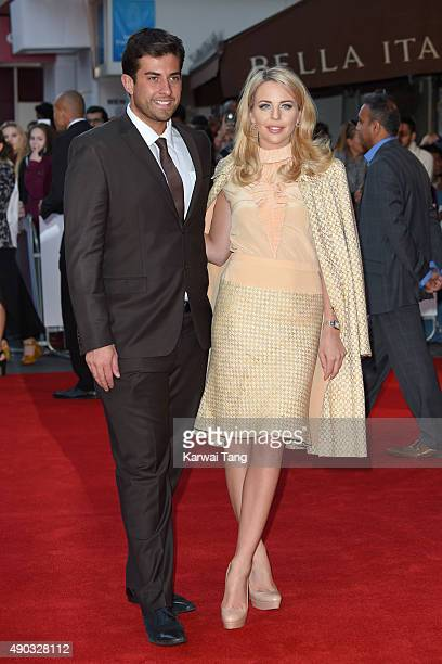 James Argent and Lydia Bright attend the UK Premiere of The Intern at Vue West End on September 27 2015 in London England