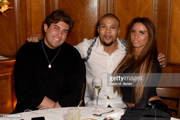 James Argent, Chris Eubank Jr and Katie Price attend Chris Eubank Jr's surprise birthday party at Tramp on September 17, 2019 in London, England.