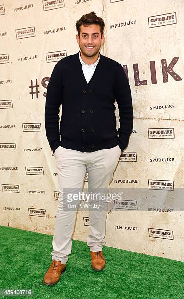 James Argent from 'The Only Way Is Essex' celebrates a new Spudulike opening by taking part in a tradional potato sack race at Lakeside Shopping...