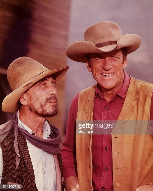 James Arness as Marshal Matt Dillon and Ken Curtis as Deputy Festus Haggen in the television series Gunsmoke