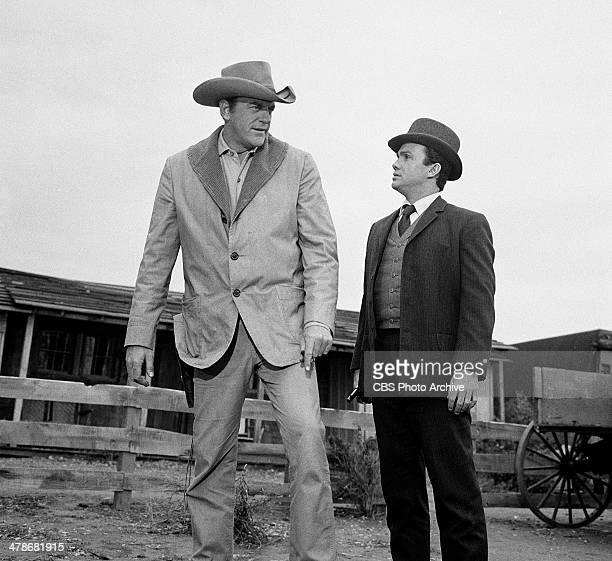 James Arness as Matt Dillon and Ben Cooper as Breck Taylor in the GUNSMOKE episode 'Breckinridge' Image dated January 15 1965