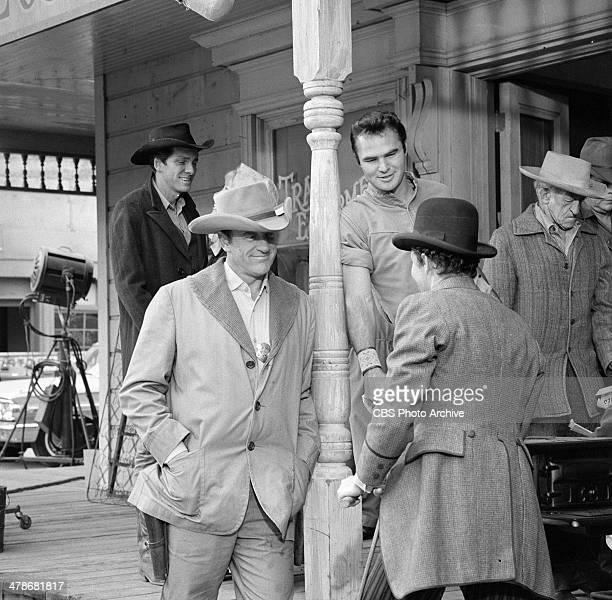 James Arness as Matt Dillon and Burt Reynolds as Quint in the GUNSMOKE episode 'Circus Trick' Image dated June 8 1964