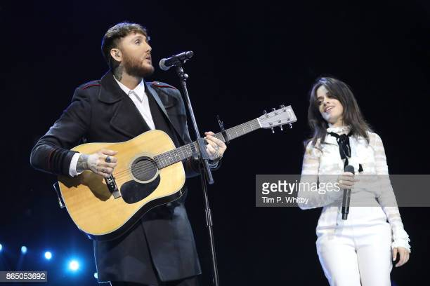 James Arthur and Camila Cabello perform at the BBC Radio 1 Teen Awards 2017 at Wembley Arena on October 22 2017 in London England