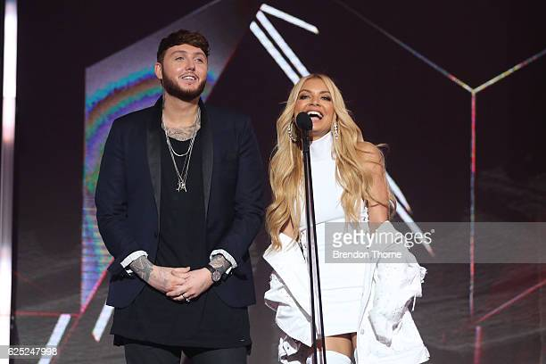 James Arthur and Havana Brown present on stage during the 30th Annual ARIA Awards 2016 at The Star on November 23 2016 in Sydney Australia