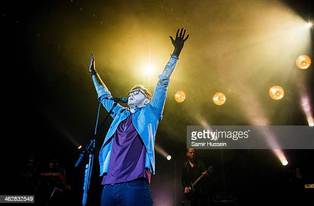 James Arthur performs live on stage at the Hammersmith Apollo on January 15 2014 in London England