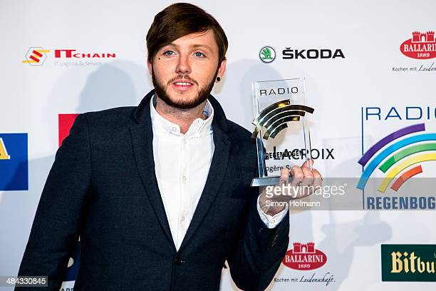 James Arthur poses with his award prior to the Radio Regenbogen Award 2014 on April 11, 2014 in Rust, Germany.