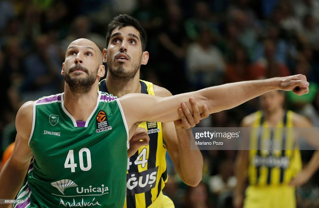 James Augustine, #40 of Unicaja Malaga in action during the 2017/2018 Turkish Airlines EuroLeague Regular Season Round 1 game between Unicaja Malaga v Fenerbahce Dogus Istanbul at Martin Carpena Arena on October 12, 2017 in Malaga, Spain.