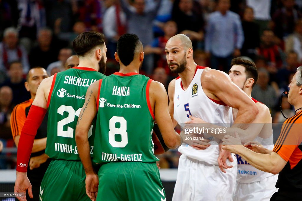 James Augustine, #5 of CSKA Moscow in action during the 2016/2017 Turkish Airlines EuroLeague Playoffs leg 3 game between Baskonia Vitoria Gasteiz v CSKA Moscow at Fernando Buesa Arena on April 25, 2017 in Vitoria-Gasteiz, Spain.