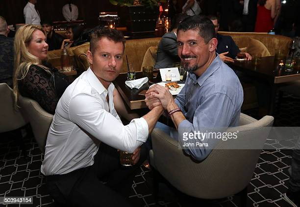 James Badge Dale and Kris 'Tanto' Paronto attend the after party for the Miami Fan Screening of the Paramount Pictures film '13 Hours The Secret...