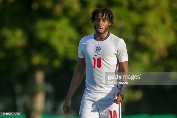 James Balagizi of England Looks on during the international friendly match between Germany U19 and England U19 at Salinenstadion on September 6, 2021...