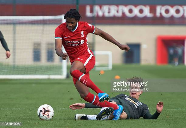 James Balagizi of Liverpool and Martin Svidersky of Manchester United in action during the U18 Premier League game between Liverpool and Manchester...