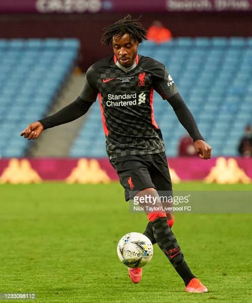 James Balagizi of Liverpool in action during the FA Youth Cup Final between Aston Villa U18 and Liverpool U18, at Villa Park on May 24, 2021 in...