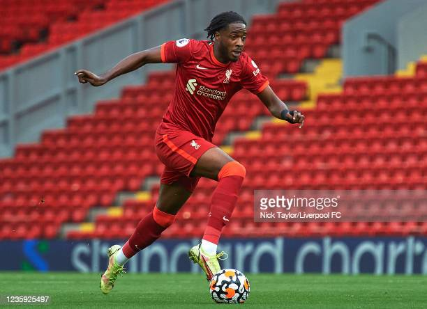 James Balagizi of Liverpool in action during the PL2 game at Anfield on October 16, 2021 in Liverpool, England.