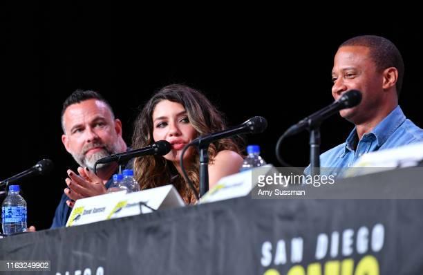 James Bamford Juliana Harkavy David Ramsey speak at the Arrow Special Video Presentation And QA during 2019 ComicCon International at San Diego...
