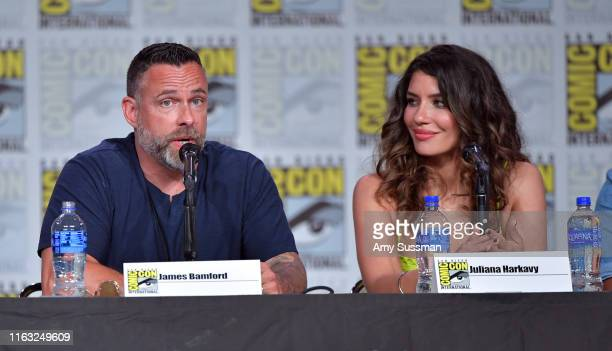 James Bamford Juliana Harkavy speak at the Arrow Special Video Presentation And QA during 2019 ComicCon International at San Diego Convention Center...