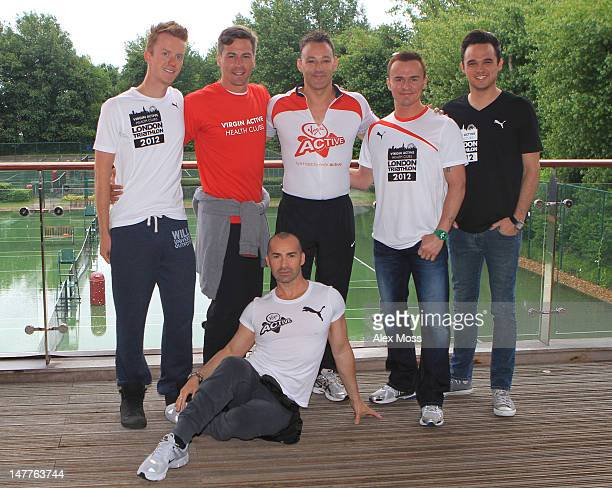 James Barr Matt Evers Toby Anstis Jon Lee Gareth Gates and Louie Spence attend a photocall to reveal Richard Branson's celebrity team taking part in...