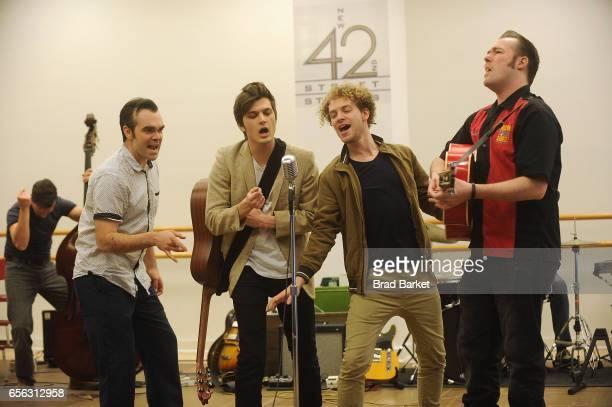 James Barry Alex Boniello Nat Zagree and Scott Moreau attend the Million Dollar Quartet cast photocall at The New 42nd Street Studios on March 21...