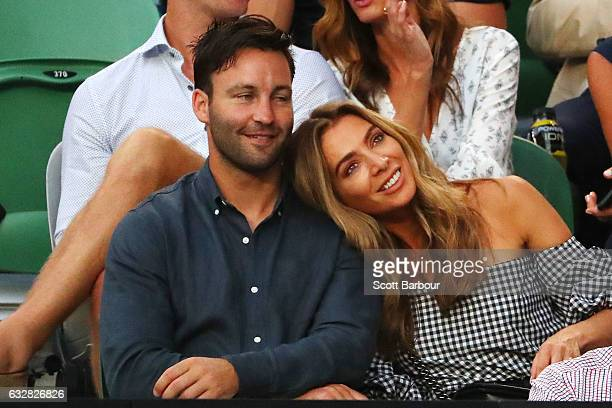 James Bartel and Nadia Bartel watch the semifinal match between Rafael Nadal of Spain and Grigor Dimitrov of Bulgaria on day 12 of the 2017...