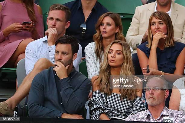 James Bartel, Nadia Bartel, and Joel Selwood, Brit Davis watch the semifinal match between Rafael Nadal of Spain and Grigor Dimitrov of Bulgaria on...