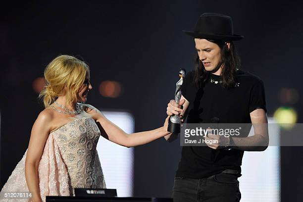 James Bay accepts the award for British Male Solo Artist from Kylie Minogue at the BRIT Awards 2016 at The O2 Arena on February 24 2016 in London...