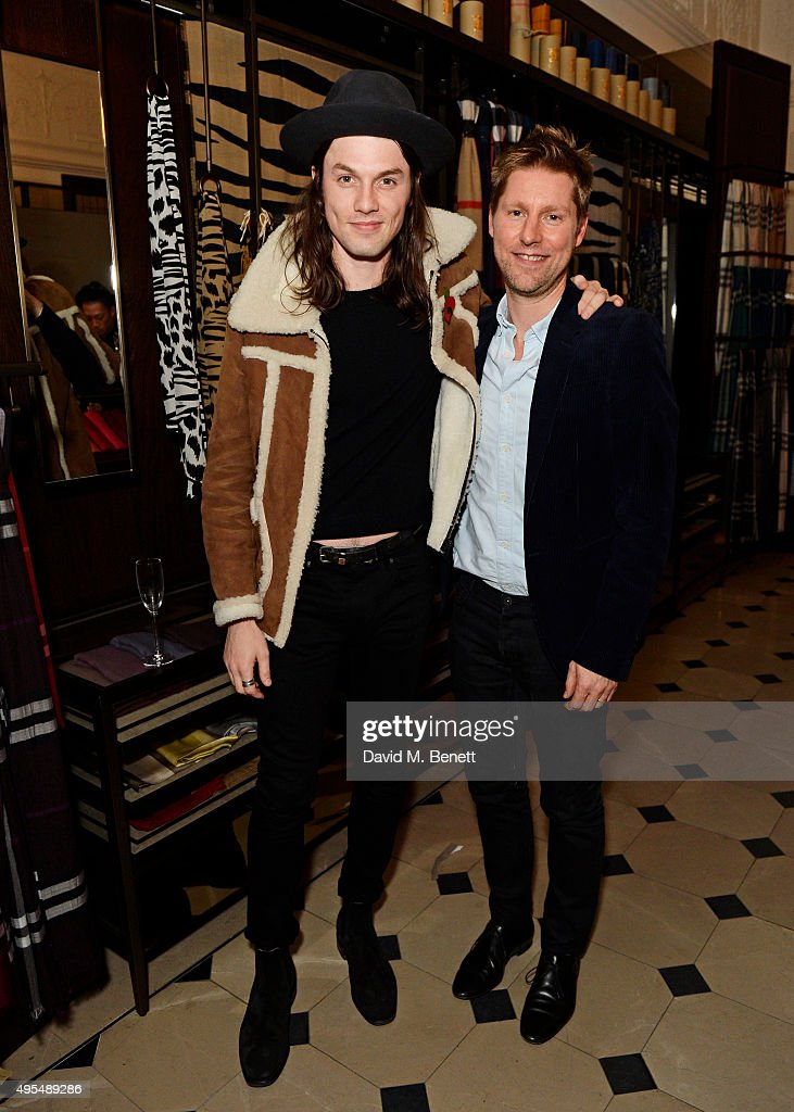 James Bay (L) and Christopher Bailey attend the Burberry Festive film premiere at 121 Regent Street on November 3, 2015 in London, England.