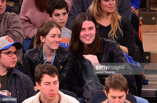James Bay and guest attend New York Knicks vs Charlotte Hornets game at Madison Square Garden on November 2 2014 in New York City
