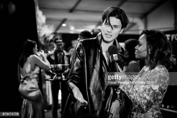 James Bay backstage during the MTV EMAs 2017 held at The SSE Arena Wembley on November 12 2017 in London England