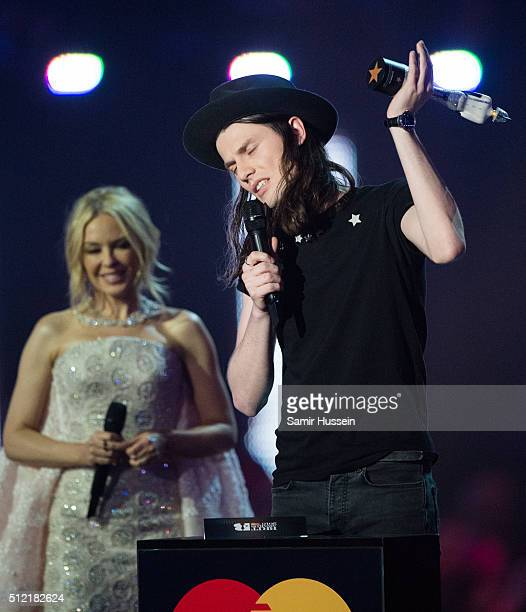 James Bay collects his Best British Male Solo Artist from Kylie Minogue at the BRIT Awards 2016 at The O2 Arena on February 24 2016 in London England