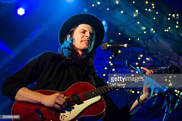 James Bay during a live broadcast of 'TFI Friday' at Cochrane Theatre on December 11 2015 in London England