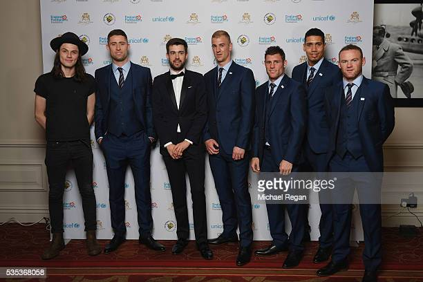 James Bay Gary Cahill Jack Whitehall Joe Hart James Milner Chris Smalling James Milner and Wayne Rooney pose during the England Footballers...