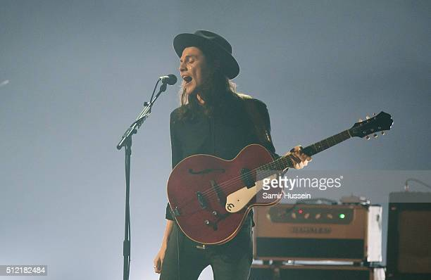 James Bay peforms live on stage at the BRIT Awards 2016 at The O2 Arena on February 24 2016 in London England