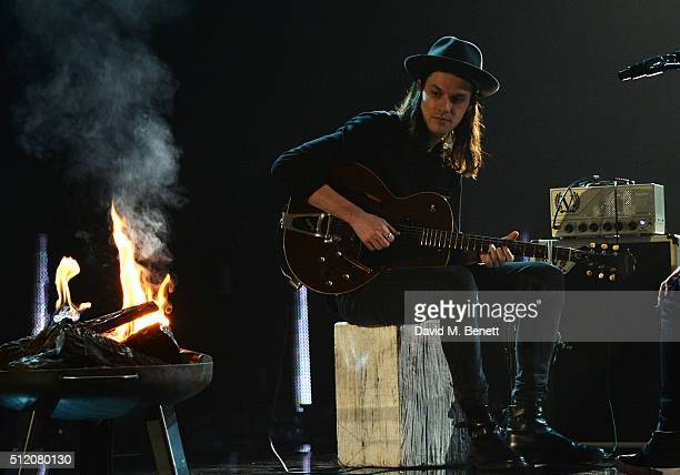James Bay performs at the BRIT Awards 2016 dress rehearsals at The O2 Arena on February 24 2016 in London England