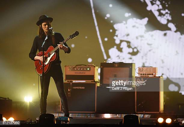 James Bay performs during the BRIT Awards 2016 at The O2 Arena on February 24 2016 in London England