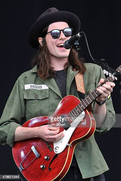 James Bay performs live on the Pyramid stage during the first day of the Glastonbury Festival at Worthy Farm Pilton on June 26 2015 in Glastonbury...