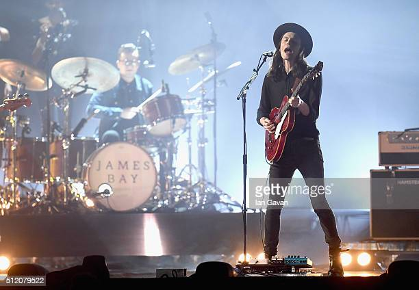 James Bay performs on stage at the BRIT Awards 2016 at The O2 Arena on February 24 2016 in London England