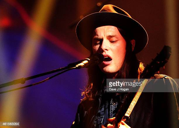 James Bay performs on stage at the nominations launch for The Brit Awards 2015 at ITV Studios on January 15 2015 in London England