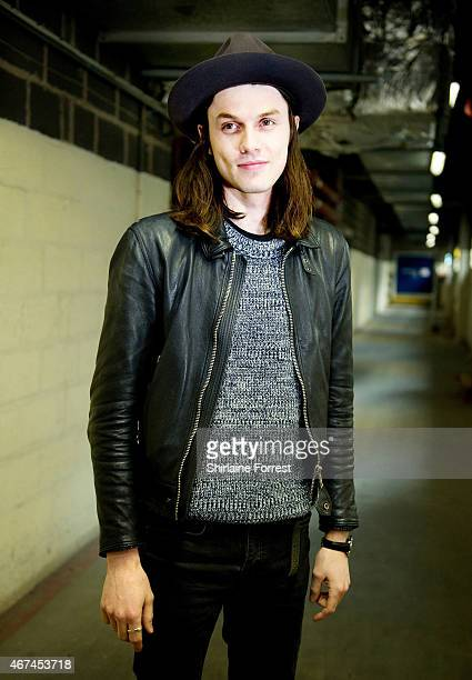 James Bay poses backstage before performing and signing copies of his album 'Chaos And The Calm' at HMV Manchester on March 24 2015 in Manchester...
