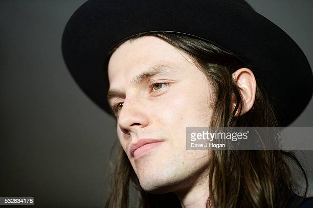 James Bay poses for a photo after winning the award for Most Performed Work in the winners room during the Ivor Novello Awards at Grosvenor House on...