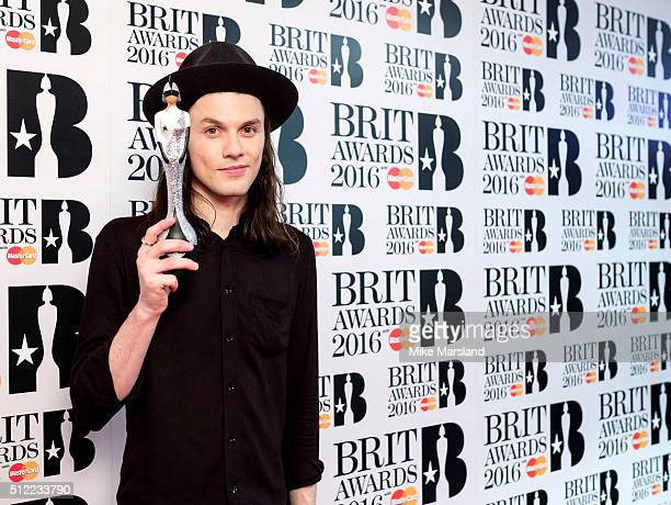 James Bay poses in the winners room at the BRIT Awards 2016 at The O2 Arena on February 24 2016 in London England