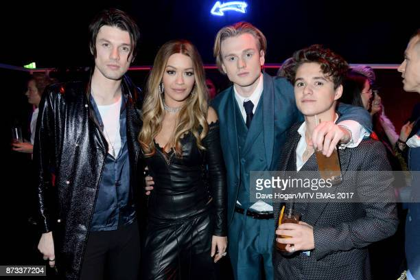 James Bay Rita Ora Tristan Evans and Bradley Simpson of The Vamps attend the MTV EMAs 2017 after show party at Fountain Studios on November 12 2017...