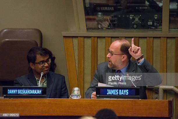 James Bays giving remarks during the special UNDP summit meeting on the same day that the United Nations General Assembly unanimously approved the...