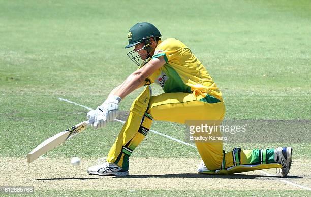 James Bazley of the CA XI plays a shot during the Matador BBQs One Day Cup match between Tasmania and the Cricket Australia XI at Allan Border Field...