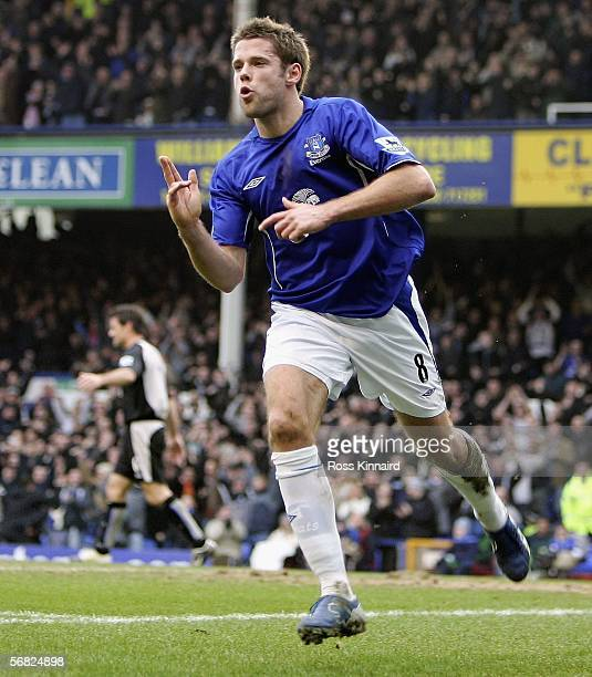 James Beattie of Everton celebrates after scoring the opening goal during the Barclays Premiership match between Everton and Blackburn Rovers at...