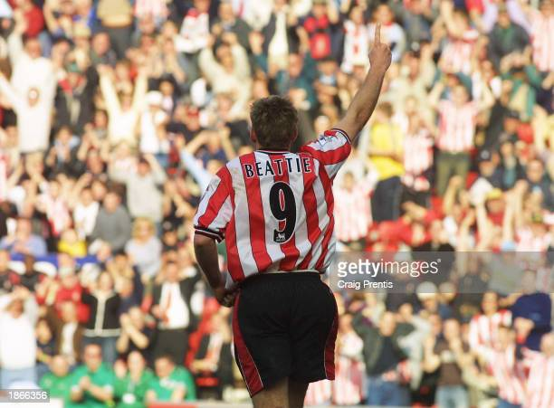 James Beattie of Southampton celebrates his goal during the FA Barclaycard Premiership match between Southampton and Aston Villa at St Mary's Stadium...