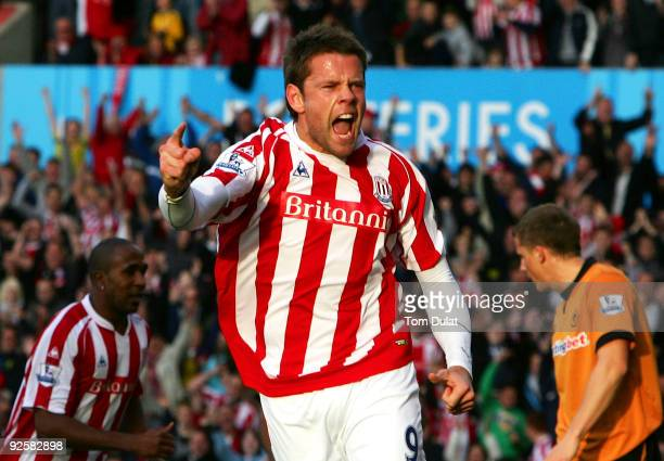 James Beattie of Stoke City celebrates scoring the opening goal during the Barclays Premier League match between Stoke City and Wolverhampton...