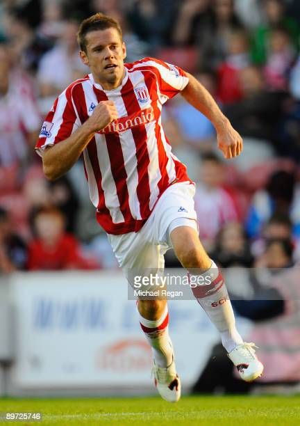 James Beattie of Stoke during the pre season friendly match between Stoke City and Valladolid at the Britannia Stadium on August 7 2009 in Stoke...