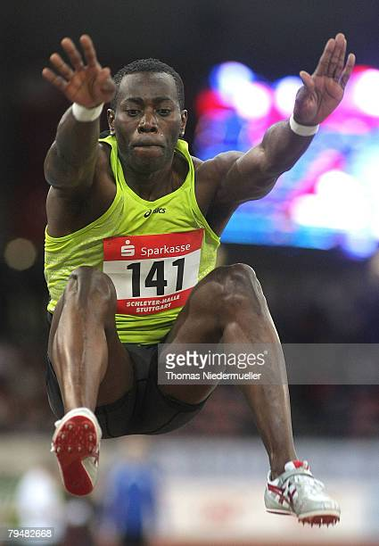 James Beckfort of Jamaica in action at the long jump competition during the Sparkassen Cup 2008 at the Hanns-Martin Schleyer Hall on February 2, 2008...