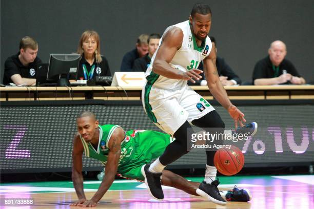 James Bell of Darussafaka Dogus in action against Jamar Smith of UNICS Kazan during the EuroCup basketball match between UNICS Kazan and Darussafaka...