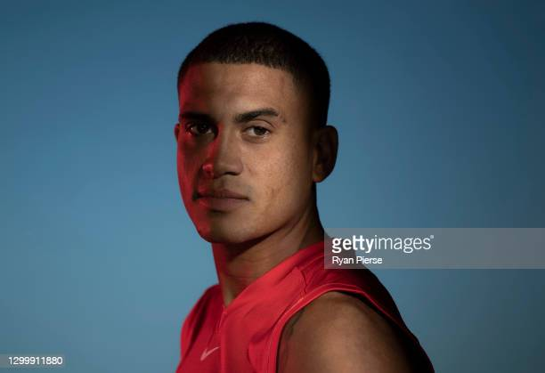 James Bell of the Swans poses during a portrait session at the Sydney Swans 2021 AFL media day at Sydney Cricket Ground on February 02, 2021 in...