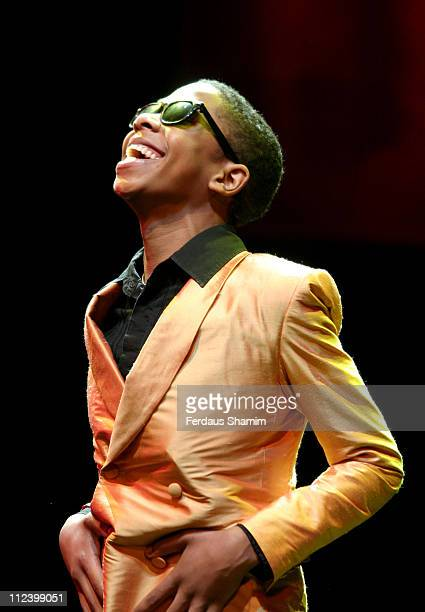 James Bellamy as Stevie Wonder during 'Dancing in the Streets' at the Cambridge Theatre Photocall at Cambridge Theatre in London Great Britain